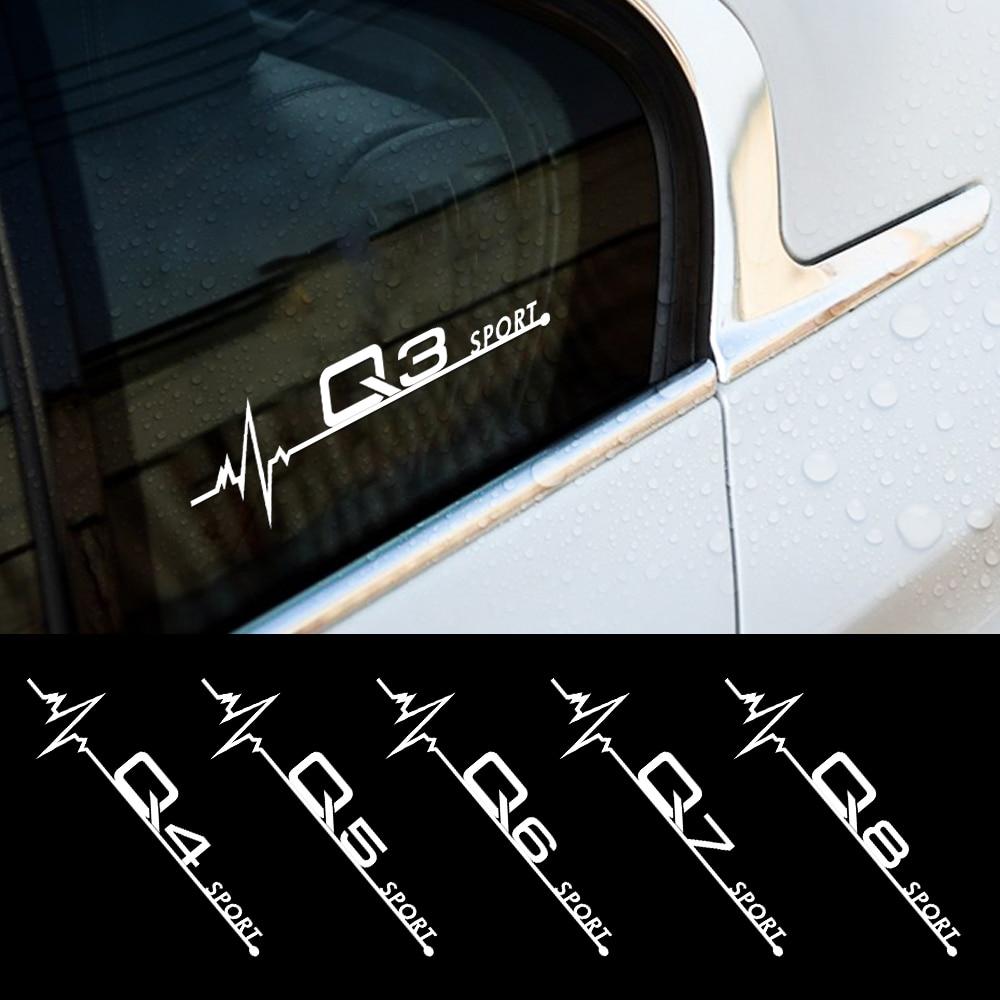 20*5.5CM 2PCS Janela Lateral Do Corpo Do Carro Decalque de Vinil Adesivos Para Audi A1 A2 A3 A4 A5 A6 A7 A8 Q1 Q2 Q3 Q4 Q5 Q6 Q7 Q8 Acessórios