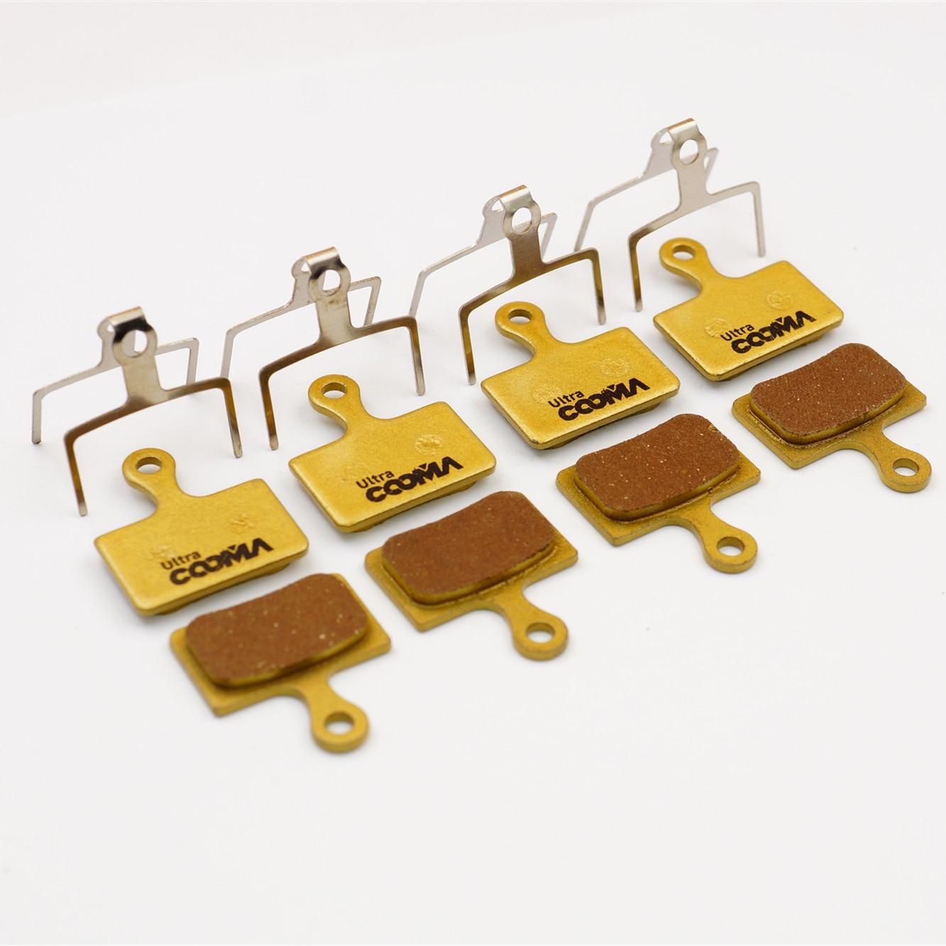 Bicycle Disc Brake Pads for SHIMANO R9170, M9100, Ultegra R8070, RS805, RS505, RS405 Disc Brake, 4 Pairs, Gold Full Metal