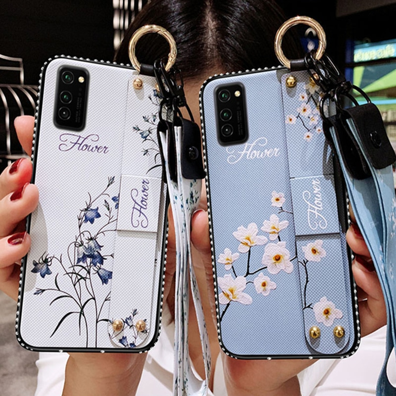 Wrist Strap Soft TPU Case For Samsung Galaxy S20FE S21 S8 S9 S10 S20Plus Note20 8 9 10 Vintage Flowe