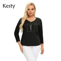 kesty womens plus size spring cotton button long sleeve top with sequins v neck elastic loose top