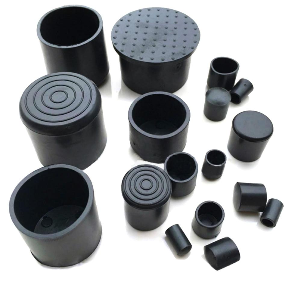 2/10PCS 6mm~63mm Black Chair Table Feet Stick Pipe Tubing End Cover Caps Cap PVC Rubber