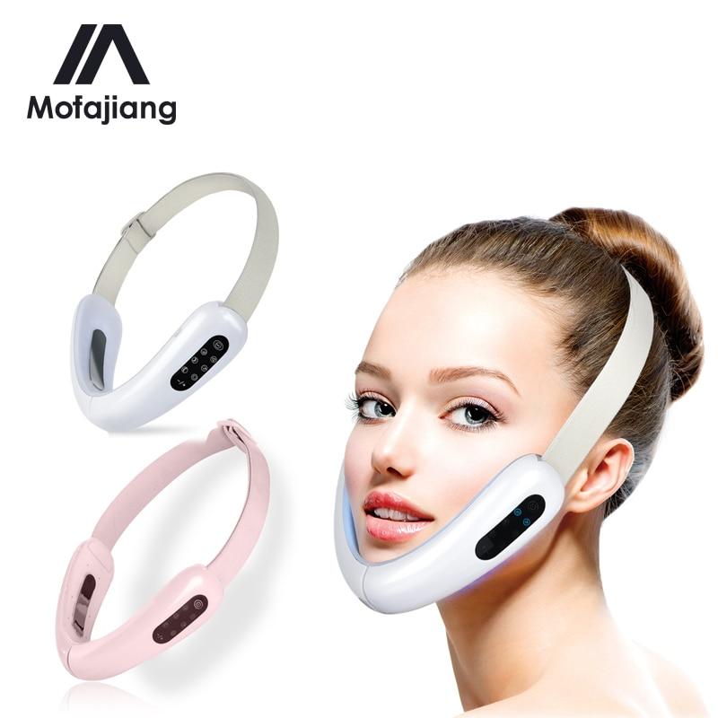 V rosto massageador facial levantamento rosto emagrecimento duplo queixo redutor led fóton terapia de luz ems anti envelhecimento rugas cinto dispositivo