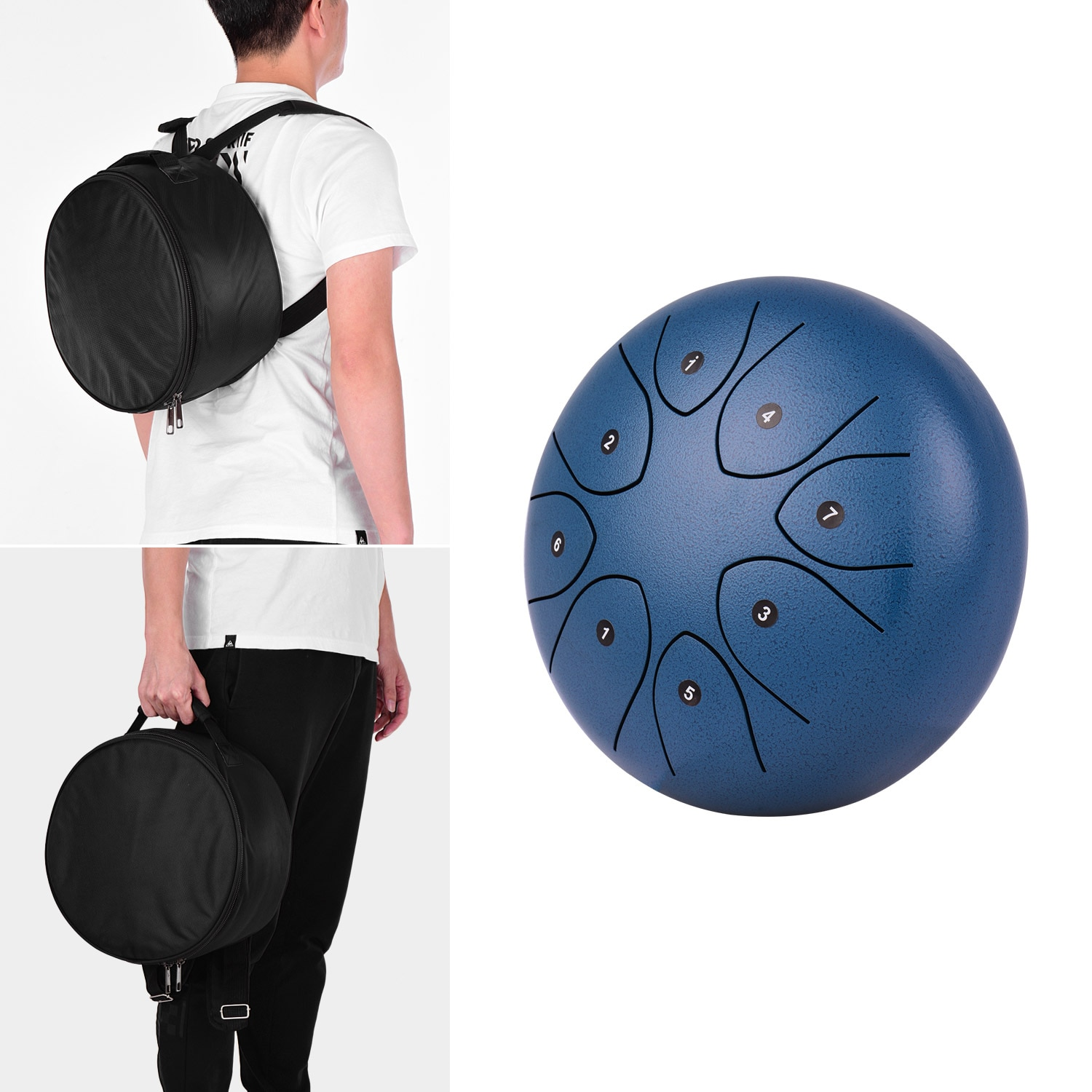 8 Inch 8-Tone Steel Tongue Drum Hand Pan Drum Percussion Instrument for Kids with Drum Mallets Carry Bag Music Book Sticker