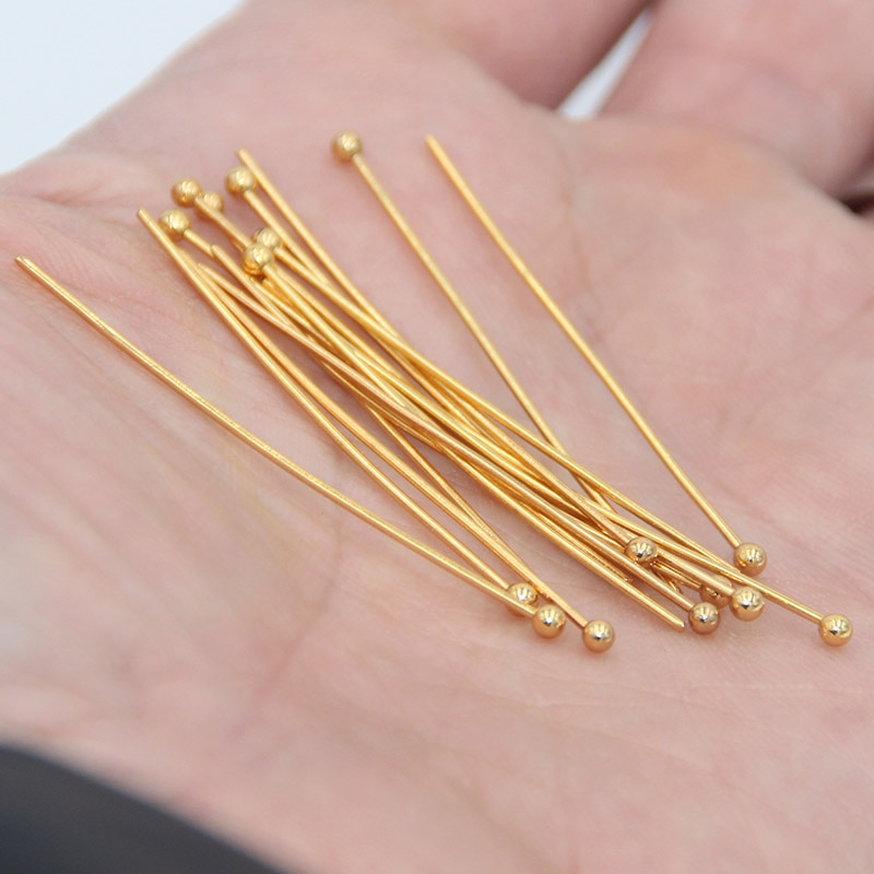 10 dozen/120pcs Stainless Steel Gold Ball Head Pins for Diy Jewelry Making   Findings Dia 0.7mm 30mm/40mm