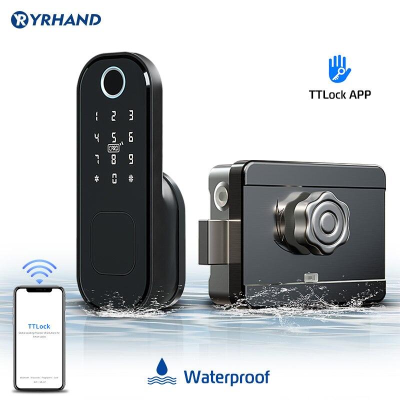 Дверной замок с отпечатком пальца водонепроницаемый наружный шлюз Bluetooth TT замок Wifi код доступа IC карта без ключа вход электронный замок