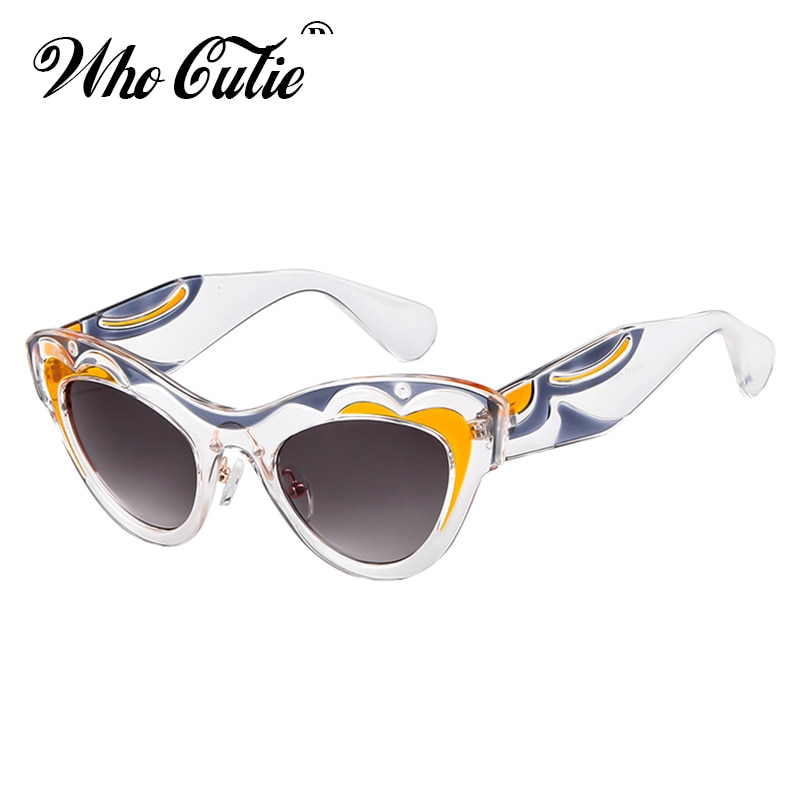 WHO CUTIE 2018 Thick Cat Eye Sunglasses Women Brand Designer Unique Pattern Frame Retro Vintage Cateye Sun Glasses Shades OM720