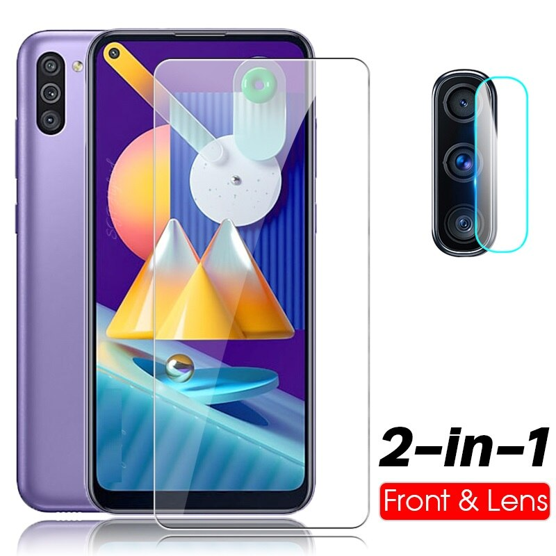 2 in 1 protective glass for samsung galaxy m11 m31 21 m 11 camera lens screen protector tempered gla