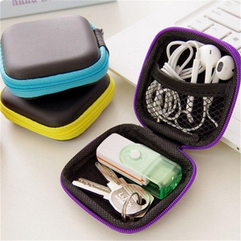 Caja de auriculares en el oído estuches de auriculares EVA cuadrado Auriculares auriculares llevar bolsa Digital portátil Mini bolsa con cierre electrónico