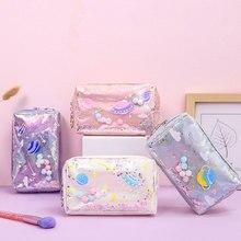Cute Laser Cosmetic Bag Women Travel Makeup Bag Zipper Make Up Organizer Storage Pouch Case Multifun