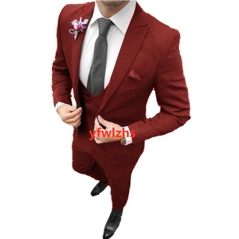 Handsome One Button Groomsmen Peak Lapel Groom Tuxedos Men Suits Wedding/Prom Best Blazer ( Jacket+Pants+Vest+Tie) B355