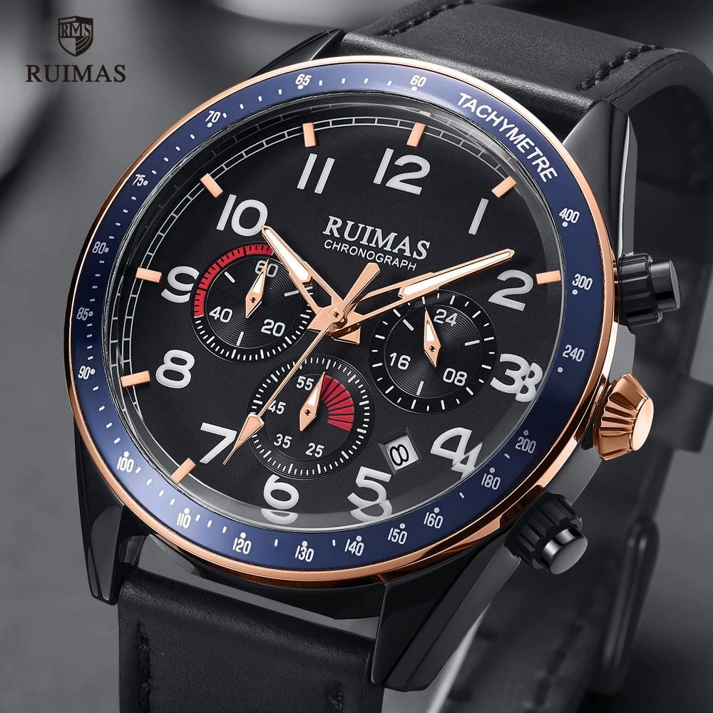 RUIMAS Casual Sport Watches for Men Blue Top Brand Luxury Military Leather Wrist Watch Man Clock Fas