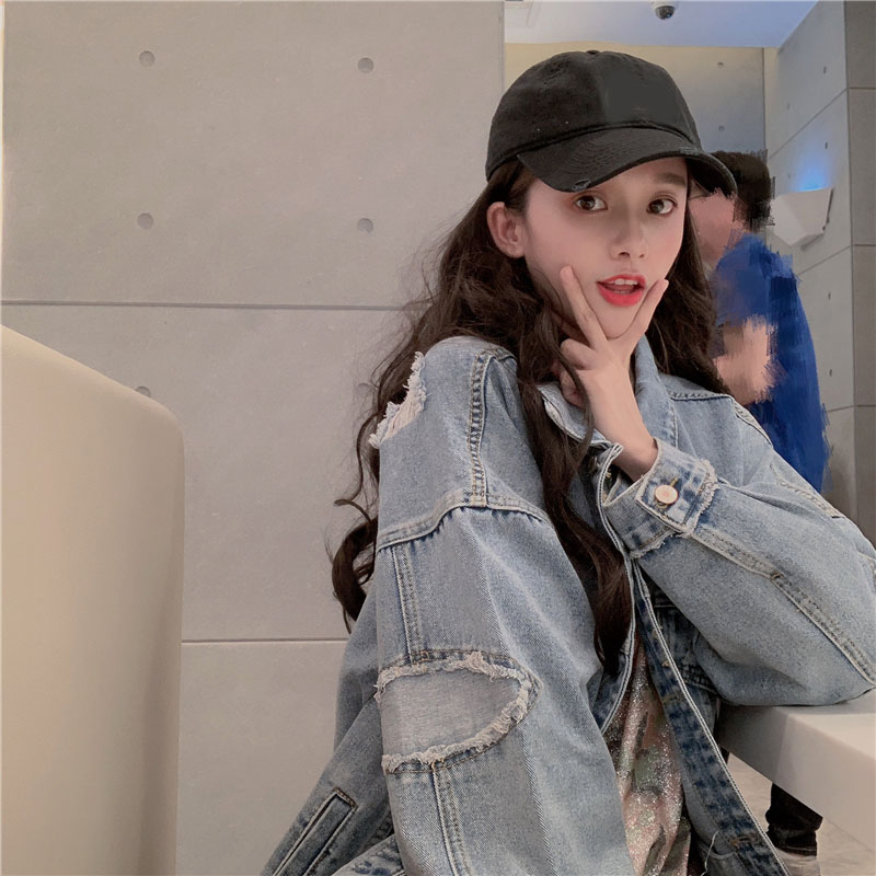 Early Spring Denim Jacket New Autumn Korean Style Loose Trendy Spring and Autumn All-Match Short Rip