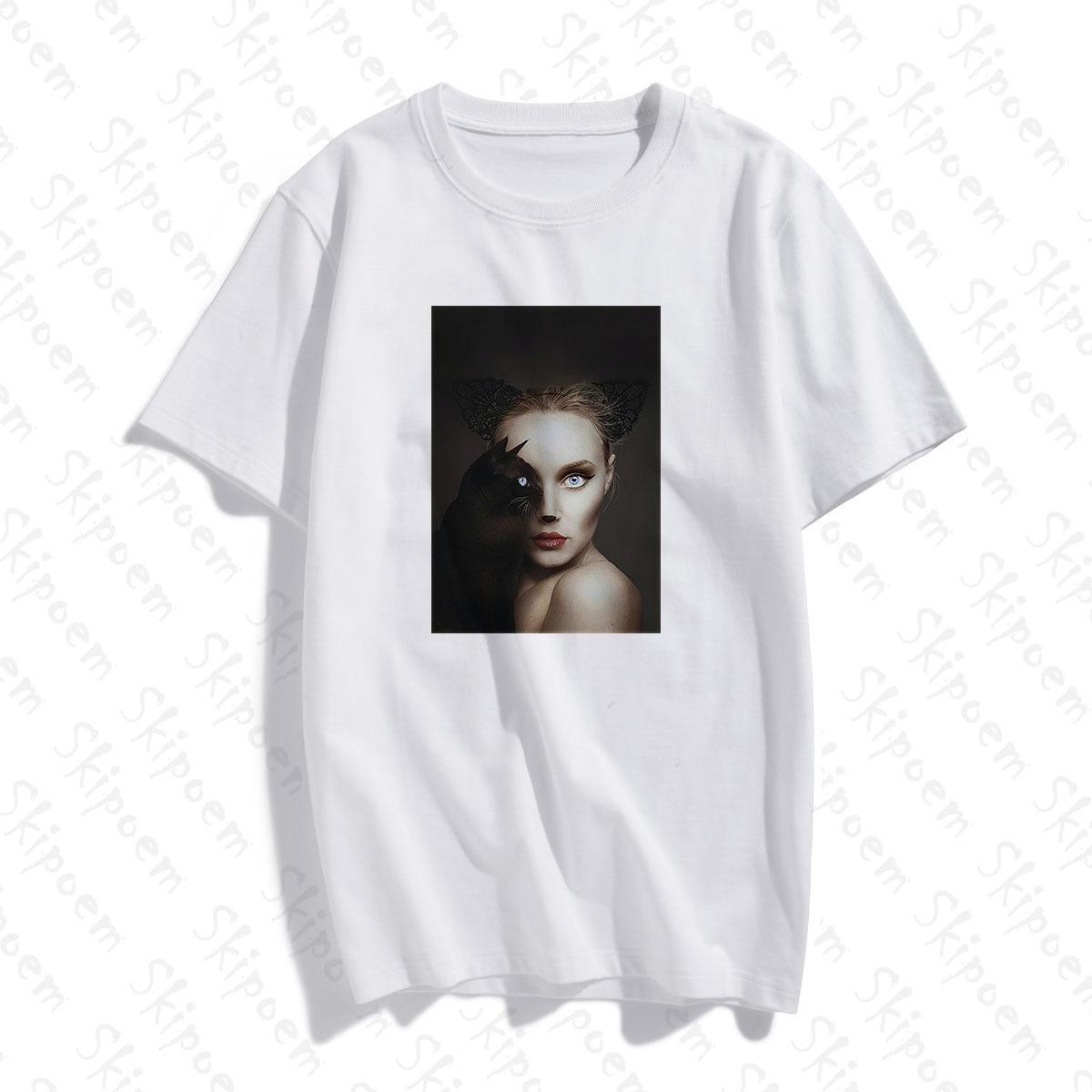 Nueva Camiseta de algodón divertida a la moda gato negro con camiseta de manga corta y camisetas de moda marca Casual