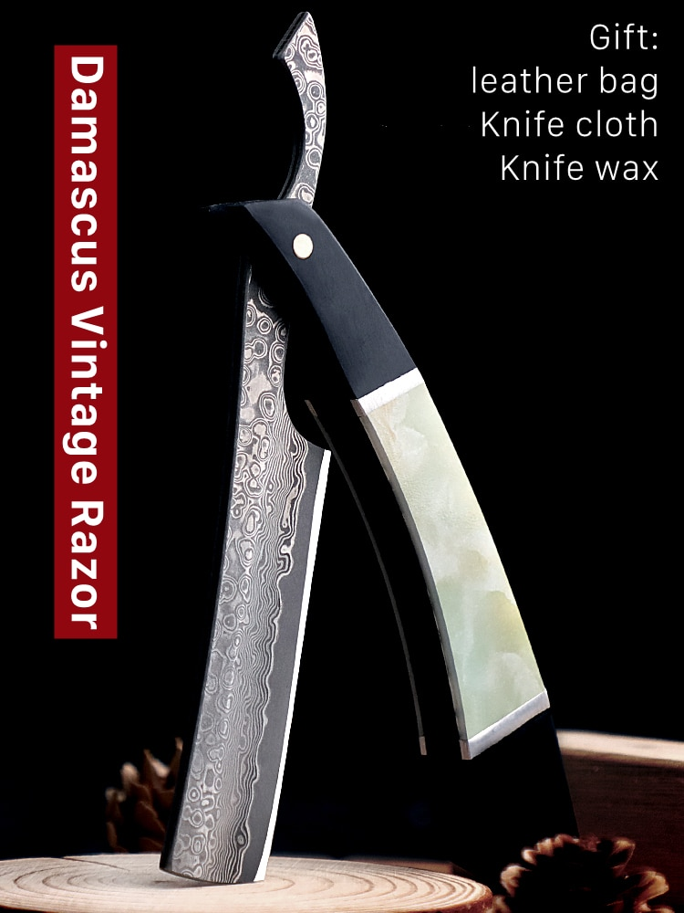 High Quality Damascus Steel Razor PET Handle With VG10 Steel Cutter Head Folding Shaving Razor Excellent Hardness Knife G0805
