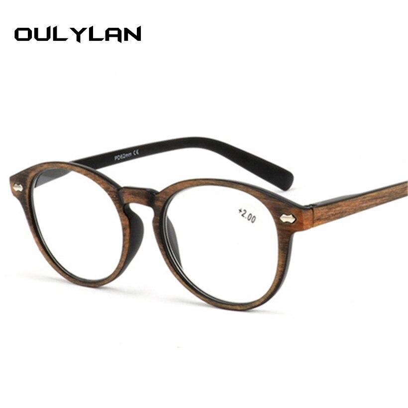 Oulylan óculos de leitura de madeira redonda mulher vintage imitação padrão quadro presbiopia óculos hyperopia 1.5 2.0 2.5