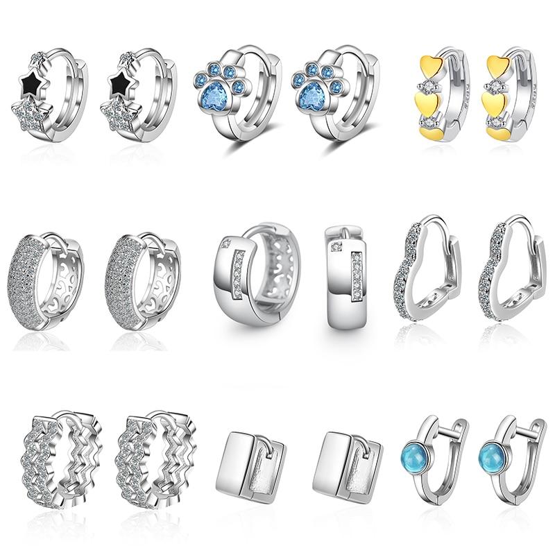 XIYANIKE 925 Sterling Silver Cubic Zirconial Love Heart Star Geometry Hoop Earrings Female Engagemen