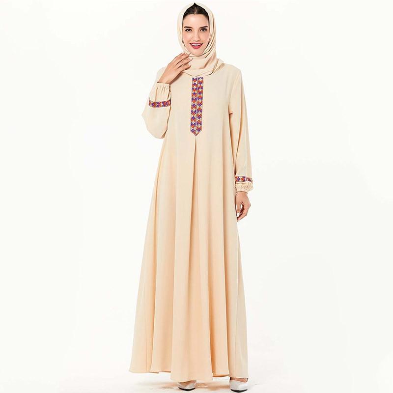 Europeu e americano moda árabe tamanho grande feminino webbing robes muçulmano dubai casual vestido de mangas compridas