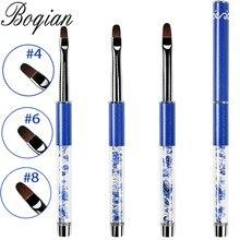 BQAN-pinceau à ongles Gel acrylique, pour dessin sur le manche avec strass, stylo pour manucure, Nail Art, Extension, #4 #6 #8