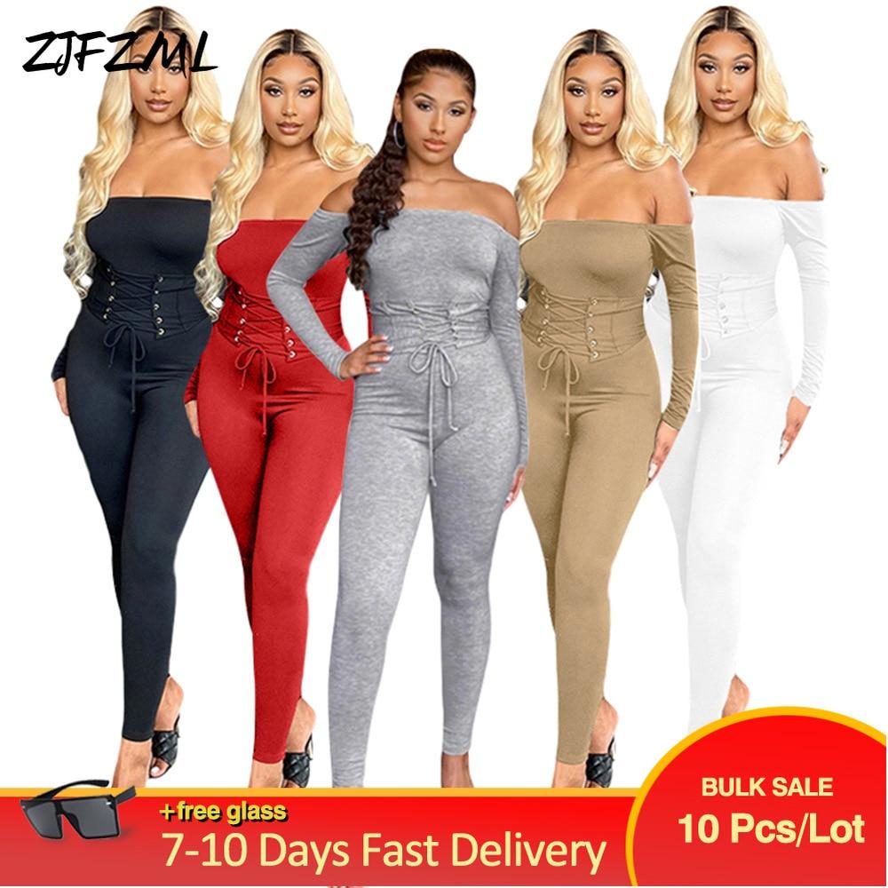 Wholesale Bulk Items Lots 2 Piece Set Tracksuit Women Slash Neck Long Sleeve One Piece Overall+lace Up Drawstring Sash Outfits