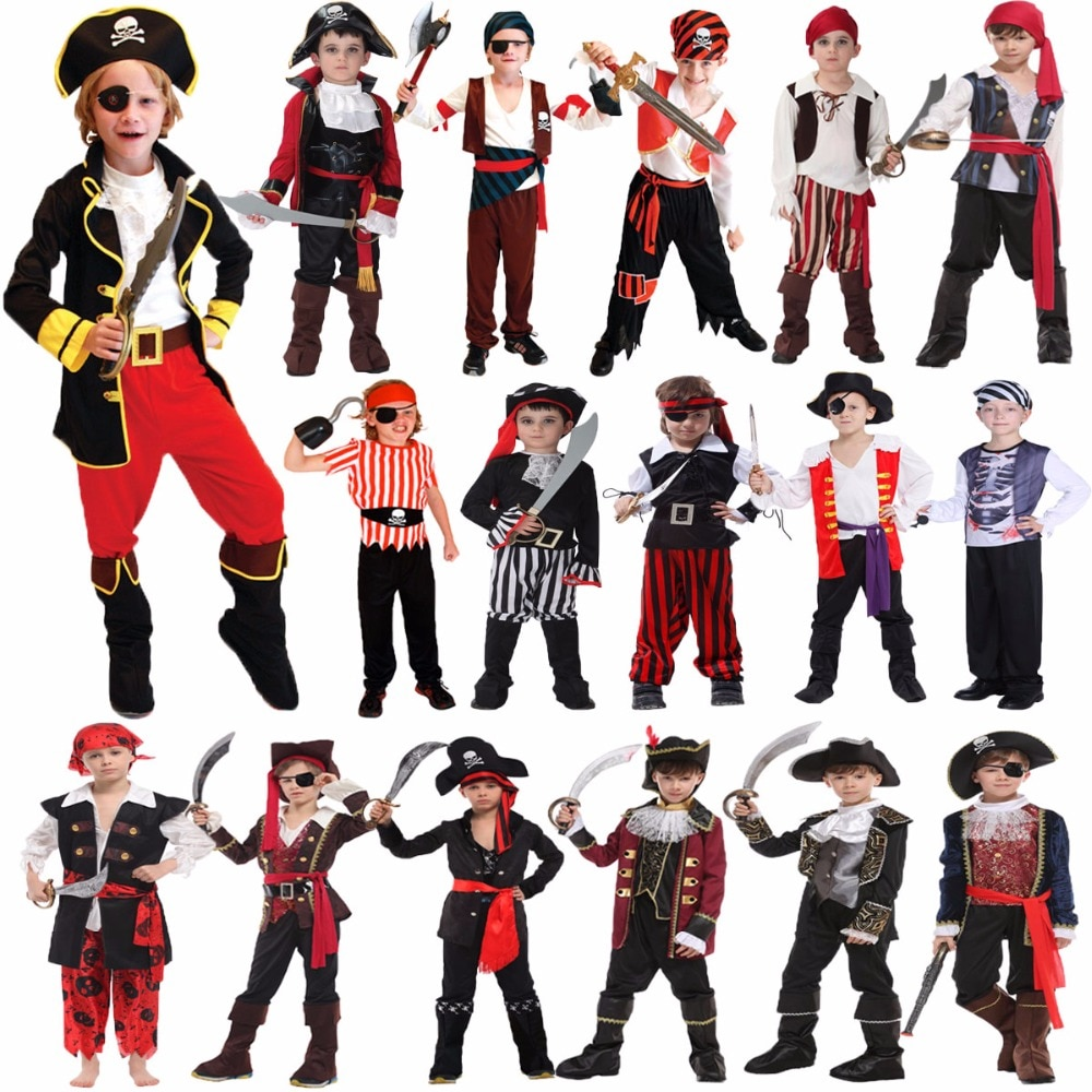 Kids Pirate Costume Fantasia Infantil Cosplay Clothing Halloween Costumes For Boys Children Birthday Carnival Party Fancy Dress halloween purim costumes for kids girls carnival the king prince costume for boy boys children fantasia infantil cosplay child