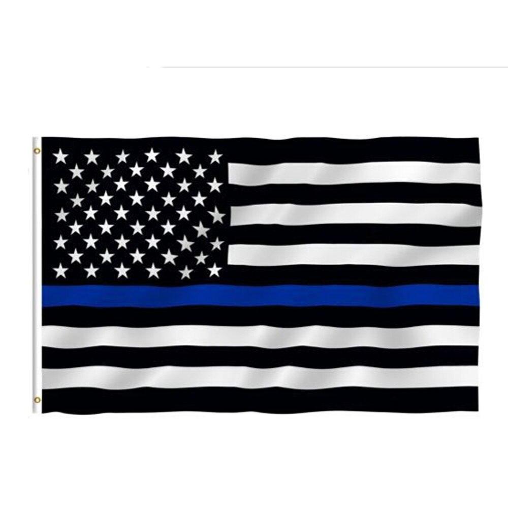 90x150см тонкие наклейки в форме флага с синей линией, черно-белые и синие наклейки с американским флагом для ноутбуков, флаги США, флаги полице...