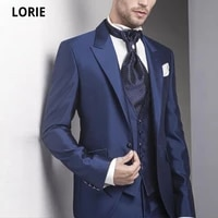 lorie navy 3 pieces mens formal prom party suits tailor made 2020 man bridegrooms wedding tuxedos groomsmen banquet plus size