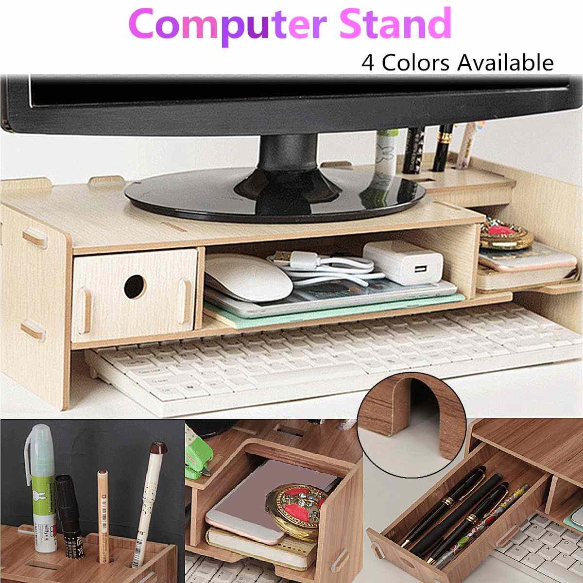 حامل شاشة كمبيوتر خشبي ، حامل مكتب ، رف تخزين ، ملحقات ، 48 × 20 × 12 سم