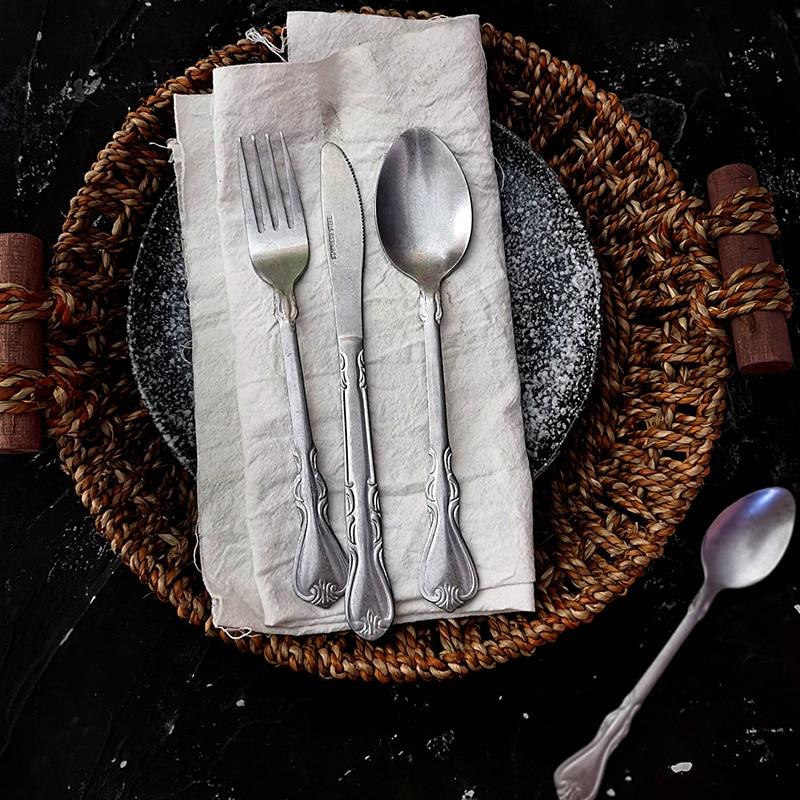 4PCS Retro Cutlery Sets 304 Stainless Steel Knife Fork Coffee Spoon  Dinnerware Kit Kitchen Tableware Fruit Flatware Silverware