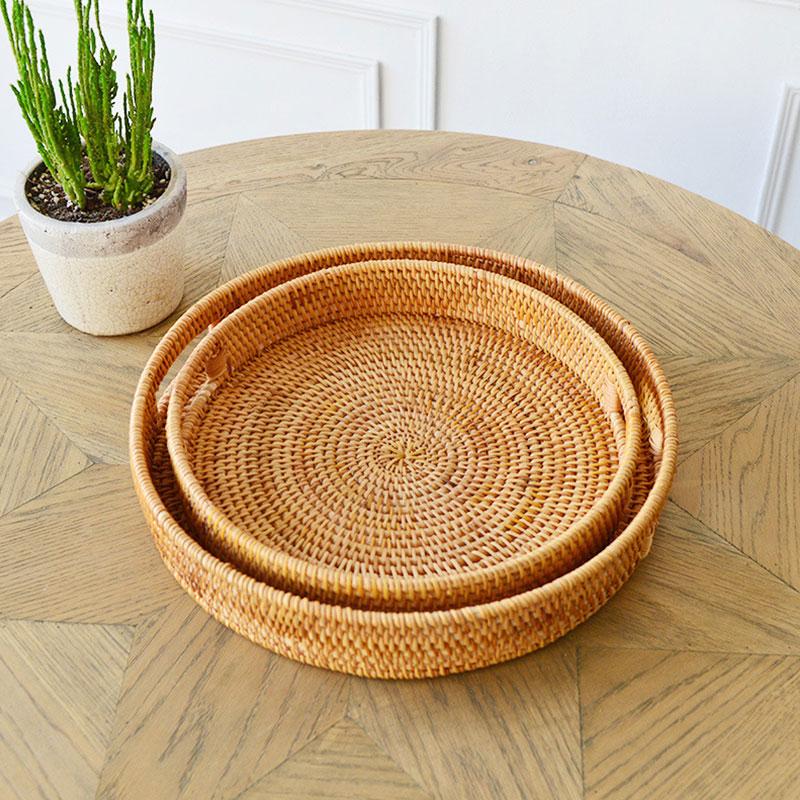 Hand-Woven Rattan Lagerung Tray Runde Korb Brot Obst Lagerung Dessert Korb Tablett Handgemachte Korb Display