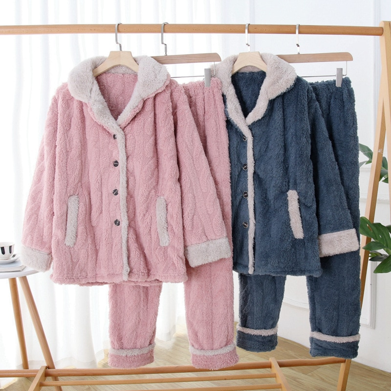 Manufacturers Direct Selling Pajamas Autumn & Winter Long-Haired Cannabis Flowers Pure Gray Fur Collar Pajamas Tracksuit Thermal enlarge