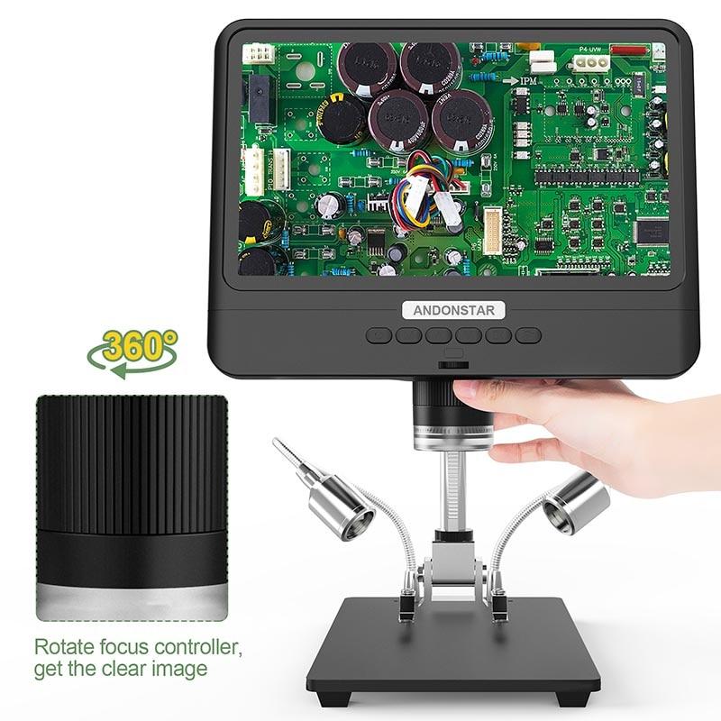 Andonstar HOT AD208 8.5 Inch Adjustable LCD Display Microscope for Soldering Digital Microscope Black 1080P Scope Soldering Tool