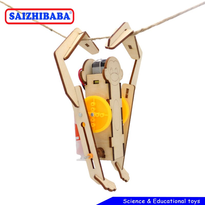 Saizhibaba DIY Electric Robot Rope Climbing Kids Science Discovery Toys STEM Education Physics Exper