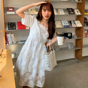 Women's Summer Korean-Style Sweet Square Collar Flower A- line High Waist Slim Lace-up Backless Short Sleeve Bubble lolita Dress