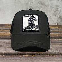 2020 HENGST Neue Sommer trucker cap mesh snapback hip hop hüte für männer stickerei baseball kappe PFERD GRAU TRUCKER