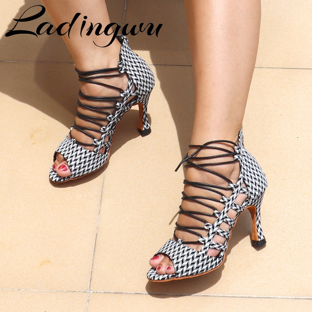 Ladingwu Ballroom Latin Salsa Dance Shoes Dancer Sandals Fashionable Boots Comfortable Soft Bottom