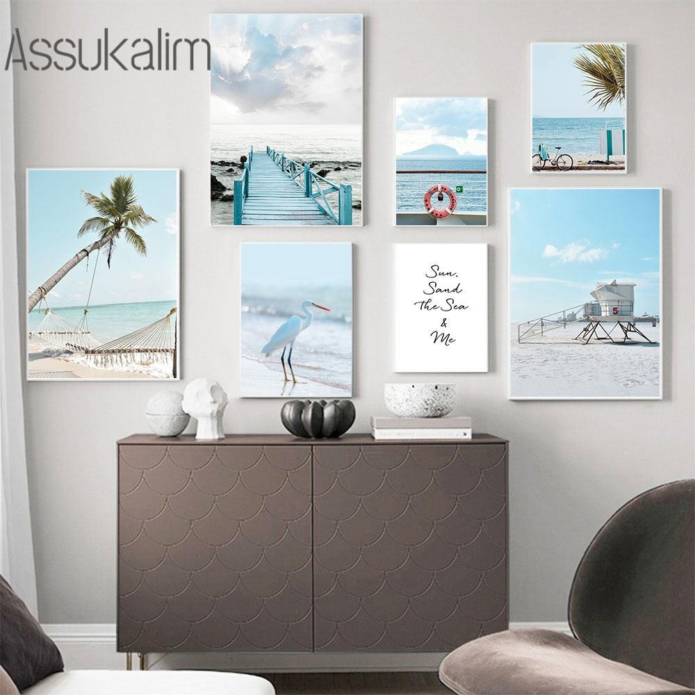 Скандинавский пейзаж, Настенная живопись на холсте, пейзаж океана, плакат, Пляжная пальма, Художественная печать, картина для гостиной, укра...
