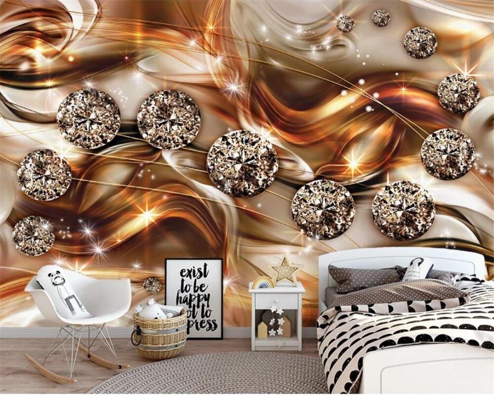 Papel pintado 3d de pared de sala de estar personalizado de Beibehang línea de oro abstracto diamante joya Fondo pared 3d papel pintado mural