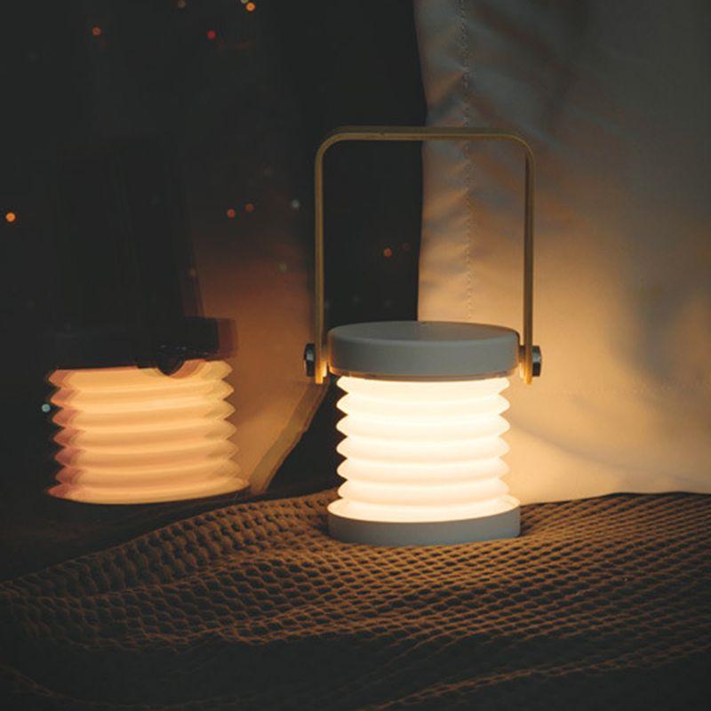 Lámpara led plegable telescópica portátil con mango de madera original lámpara de mesa Luz nocturna de carga Lámpara de lectura D08F