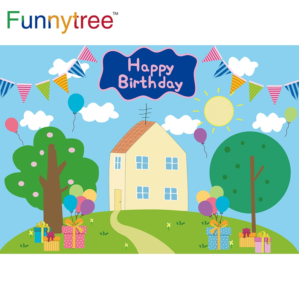 Funnytree Birthday Background Cartoon Pig Baby Shower Party Blue Sky Tree Balloon Cloud Grass Kids Gift Backdrop Photo Banner