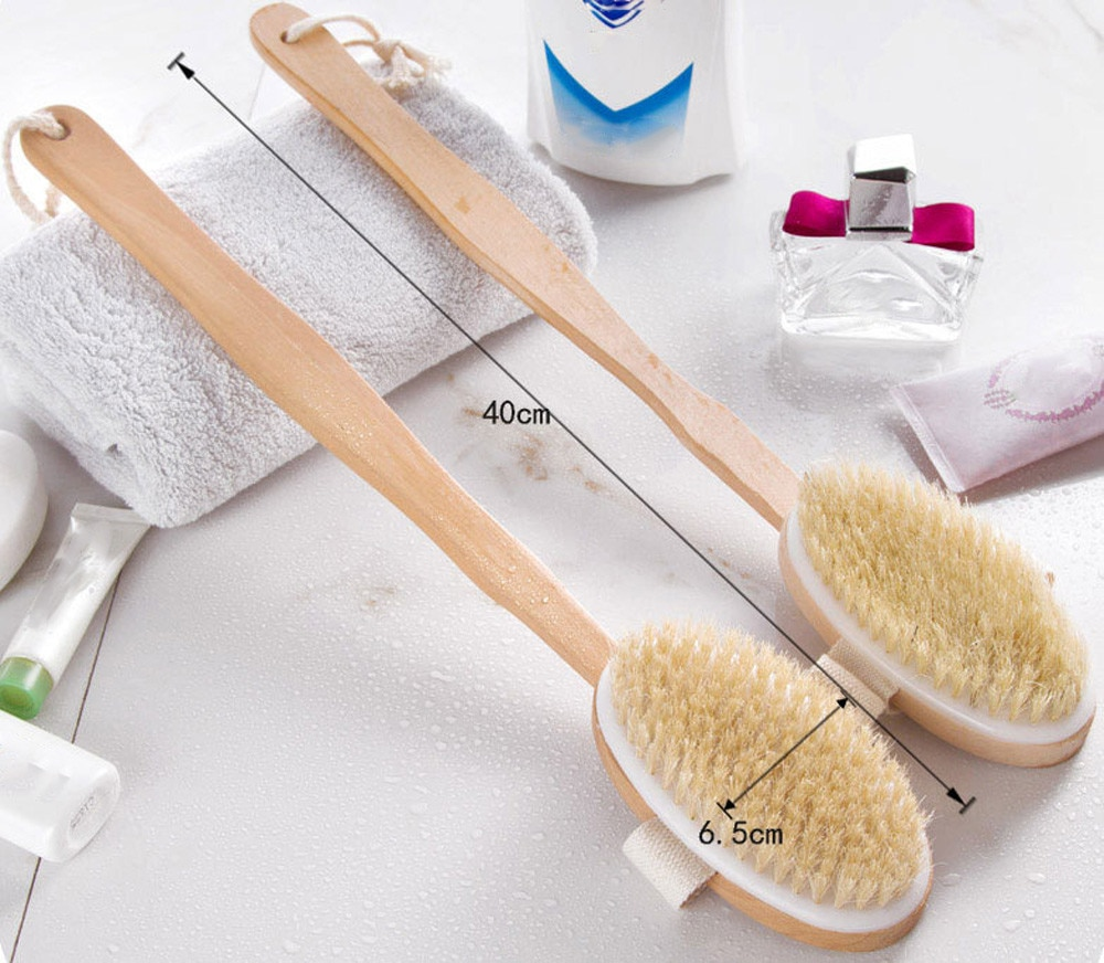 Bathroom Body Brushes Long Handle Bath Natural Bristles Brushes Exfoliating Massager With Wooden Han