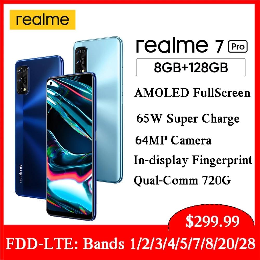 Перейти на Алиэкспресс и купить Realme 7 Pro глобальная версия смартфона 65 Вт Быстрая зарядка 64 мп AI Quad Camera 8 + 128 ГБ разблокировка отпечатков пальцев полноэкранный мобильный теле...