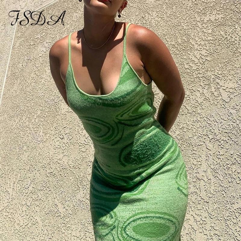 FSDA 2021 Print Knit Bodycon Dress Women Green Y2K Summer Hollow Out Sexy Sleeveless Spaghetti Strap Beach Midi Dresses Party