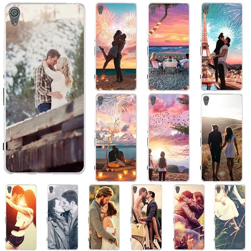 Accesorios suaves para teléfono móvil para Sony Xperia Z Z1 Z2 Z3 Z5 M2 M4 XA E5 T3 bolsa compacta pareja beso amor hombre mujer Grunge