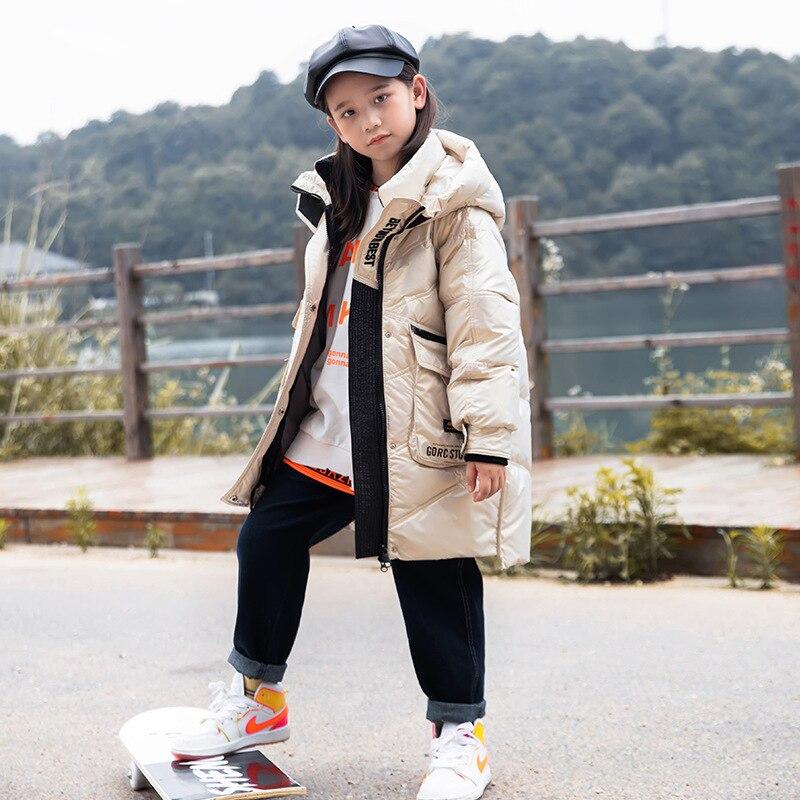 سترة الأطفال الشتوية 2021 الجديدة سميكة الدافئة الاطفال موضة أسفل معطف للفتيات مقنعين سترة فتاة الكورية سنوسويت الملابس 10 12 سنة