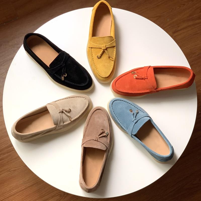 جلد الغزال البغال للنساء 2021 حذاء مسطح الصيف السحر المشي المتسكعون الربيع جلد الغزال منخفضة أعلى سيدة عادية حقيقية أحذية من الجلد