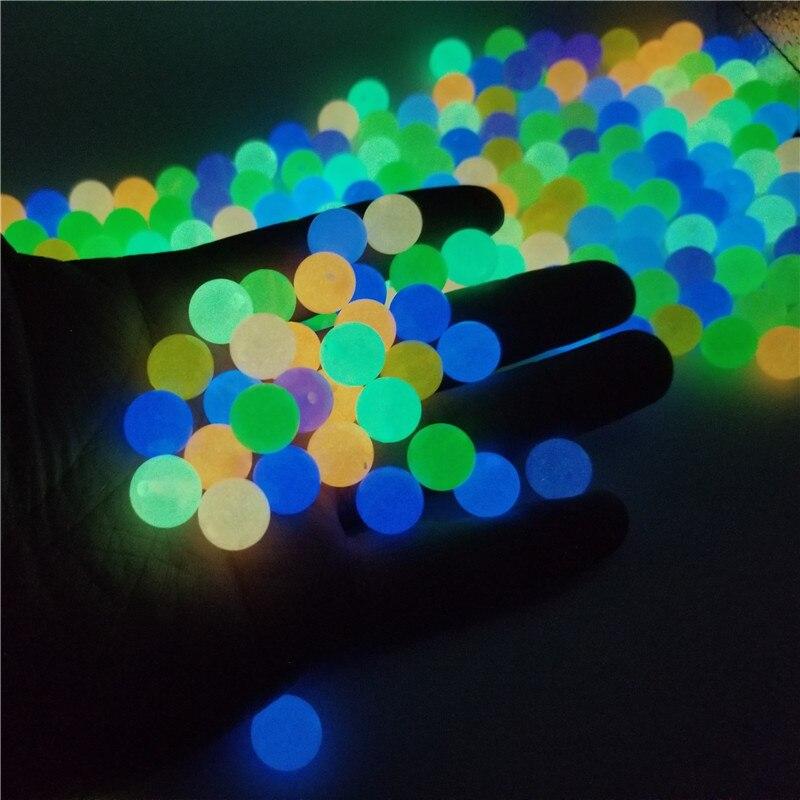 Cuentas luminosas fuertes de 6-8-10-12mm que brillan en la oscuridad, cuentas espaciadoras sueltas de pesca para joyería, collar DIY, pulsera