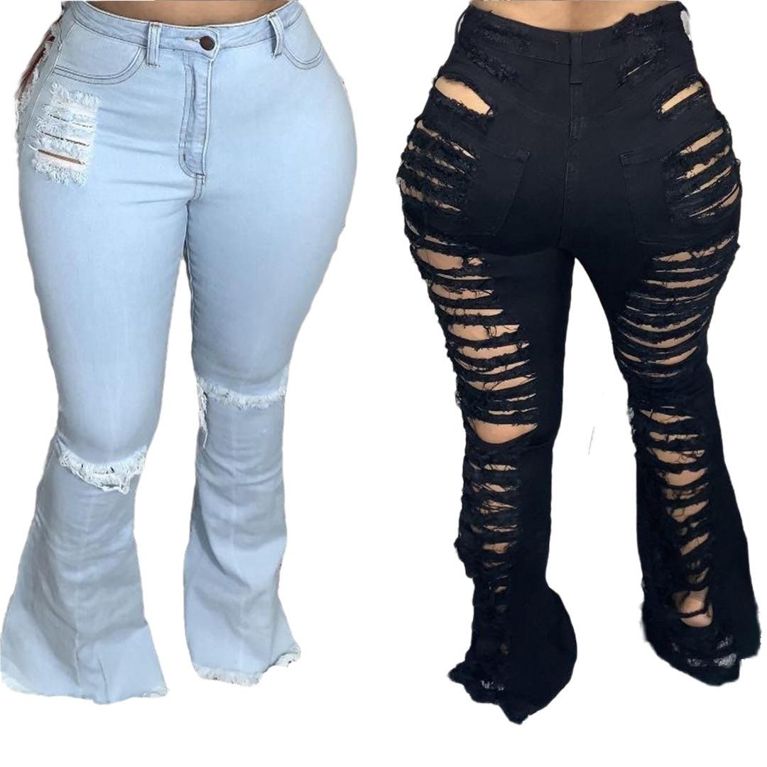 بنطلون جينز ممزق مثير للنساء من SHZQ مناسب للملهى الليلي موضة 2021 جديد بفتحات مفرغة بمقاسات كبيرة بنطلون دنيم مرن عالي