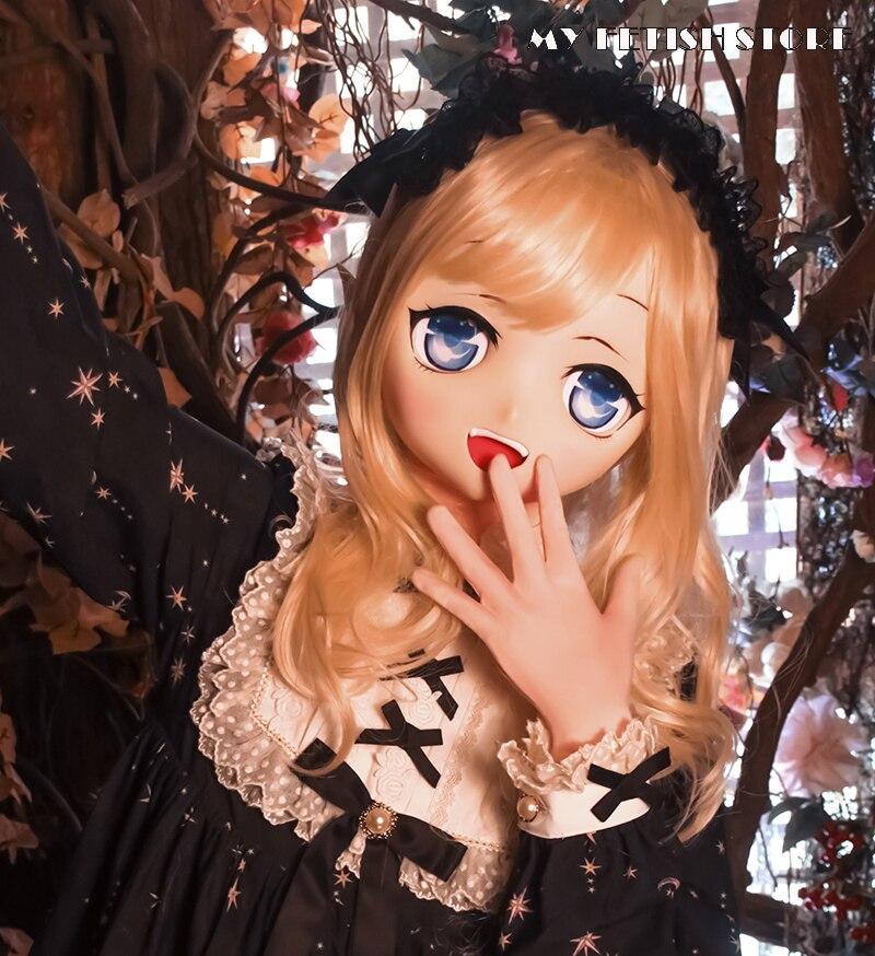 (KXZ12) قناع دمية كيجورومي كوسبلاي شخصية كرتونية يابانية من الراتينج لرأس كاملة للسيدات/الفتيات مع قناع كروس