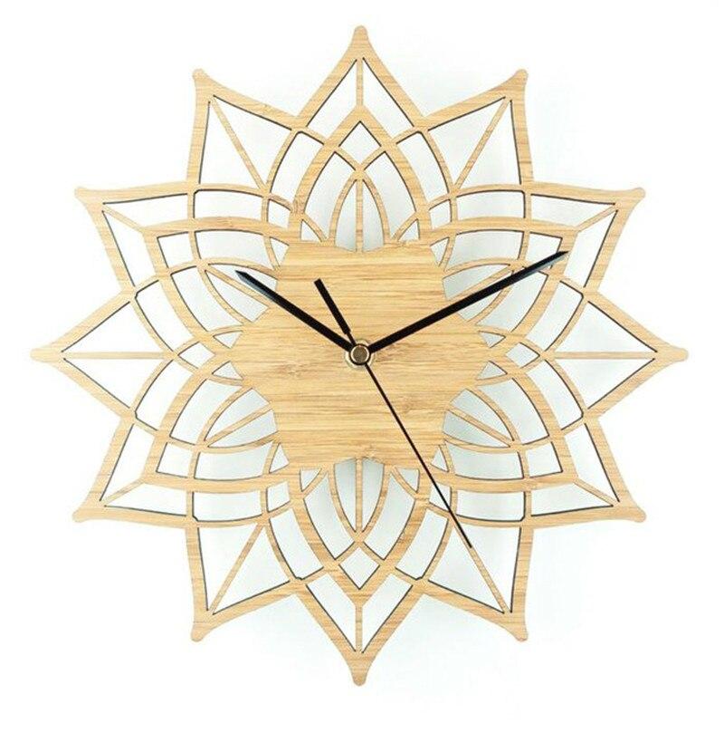 Reloj de pared de madera Natural de loto, colgante de pared de...