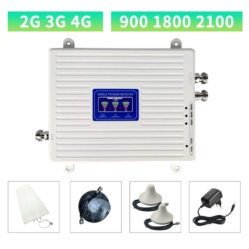 Cellular Repeater GSM DCS WCDMA 900 1800 2100 Tri Band 2G 3G 4G Signal Booster  Mobile Signal Amplifier 2 Indoor Antennas Set